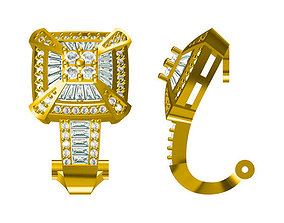Square shape earrings baguette cut diamond 3D print model