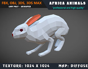 animated Low Poly Rabbit Cartoon 3D Model Animated - Game