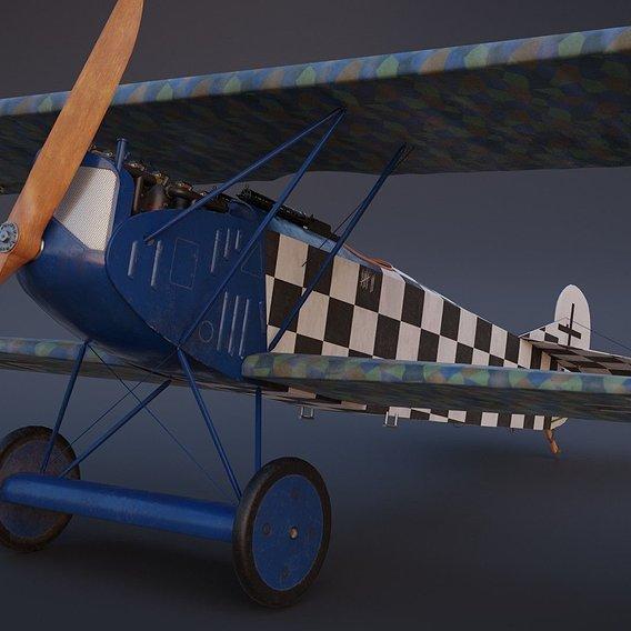 Fokker D. VII biplane - game-ready