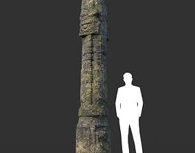 Low poly Mossy Ruin Temple Element 08 190403 3D asset
