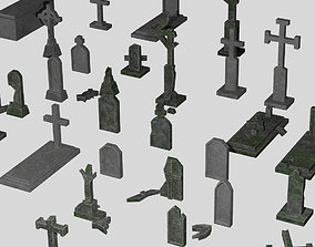 VR / AR ready Old and new gravestone asset