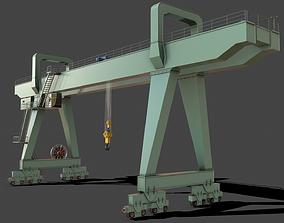 PBR Double Girder Gantry Crane V2 - Green Light 3D asset