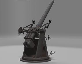 QF 3 naval 3 inch gun low poly 3D model