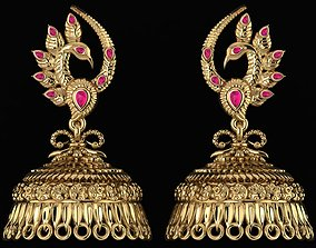 3D printable model Peacock Antique Earings
