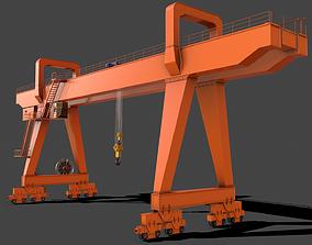 PBR Double Girder Gantry Crane V2 - Orange 3D model