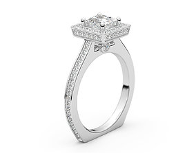 square Engagement Halo Ring 3D print model