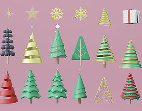 3d set of Christmas tree and Ornament