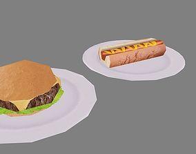 3D asset Burger and Hot Dog