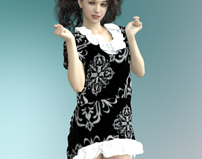 3D model Dforce Mix and Match Ruffled Sassy Dress For 2