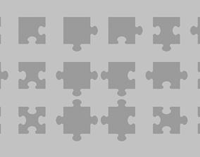 Jigsaw puzzle element set 3D asset