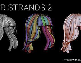 3D Hair Strands 2 - IMM Curve Brush - UV Unwrapped