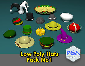 3D asset VR / AR ready Low Poly Hats