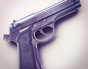 3D Beretta M9 9mm Pistol Hi-Res