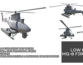 Low Poly MQ-8 Fire Scout UAV Drone 3D asset