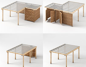 Three carports - wood frame and paneling - 3D asset 3