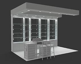 3D Concession stand kiosk shop