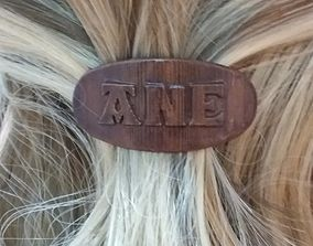 3D printable model ANE Personalized Oval Hair Barrete