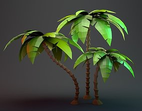 Low Poly Cartoon Palm Collection 3D model low-poly