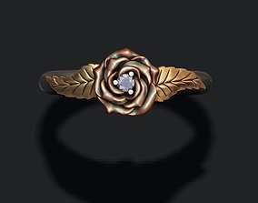 Rose ring with gemstone 3D printable model