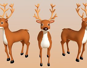 Reindeer Cartoon Lowpoly 3D asset