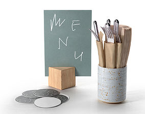 3D model Plain Costers Menu and Cutlery Set