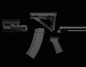 3D asset game-ready AK74 - AKM - Tactical Parts
