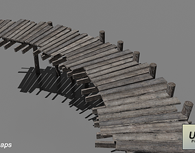 poly Wooden Bridge 3D asset low-poly