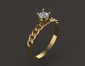jewelry 3D print model Solitare Ring