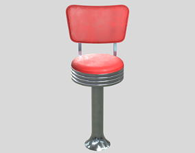 3D model low-poly Diner Bar Chair 1950s