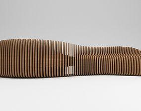 Parametric wooden bench 3D model outdoor