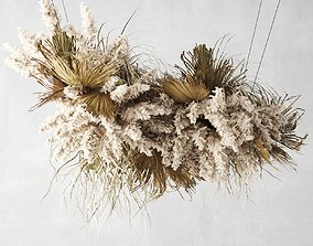 Pendant Decor Pampas Grass And Dried Palm Leaves 3D