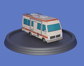 Stylized low-poly Camper Van 3D asset