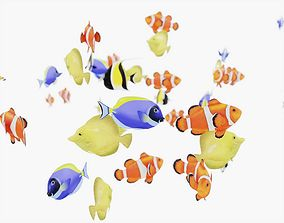 3D asset School of Fish Animated