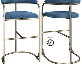 3D model Vintage Brass Bar Stools by Shelby WIlliams