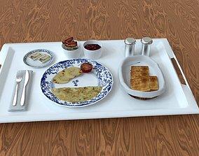 3D asset Breakfast Food Tray