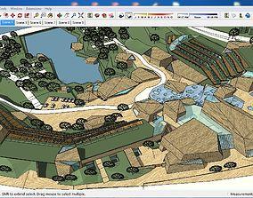 3D Sketchup Tourist Recreation Camp B4