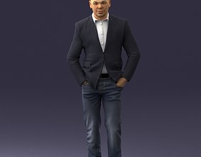 Man in brown boots and jacket 0393 3D Print Ready