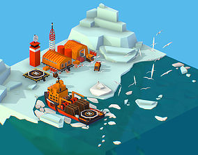 3D model Isometric Polar Station North Pole iceboat