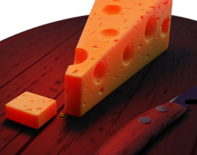 animated PBR Realistic Cheese Slice 3D Model