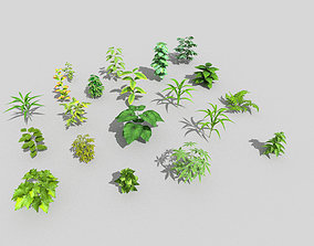 3D asset 20 low poly grounds plant pack