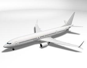 Boeing BBJ MAX 9 Airliner - Generic White 3D model