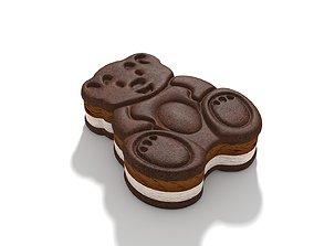 Teddy Bear Sandwich Ice Cream Chocolate 3D