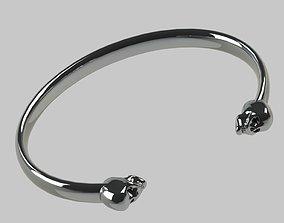 Skull Bracelet 3D print model silver