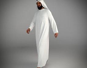 3D Traditional arab man from dubai posed walking