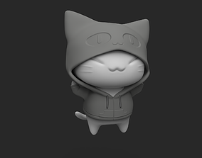 Kitten in a hoodie 3D printable model