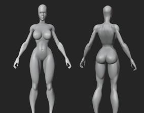 Basic female body model rigged