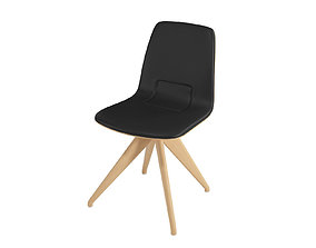 3D Chair TORSO 837-I POTOCCO Black leather and natural