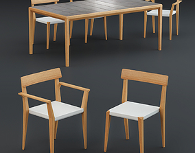 3D model patio-furniture Roda Teka Dining Table and Chair