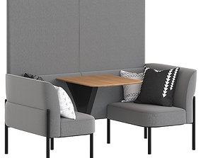 Herman Miller Hue Lounge Furniture low with wall 3D model