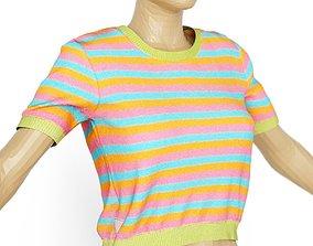 Top Stripes Colors Clothing Women 3D asset